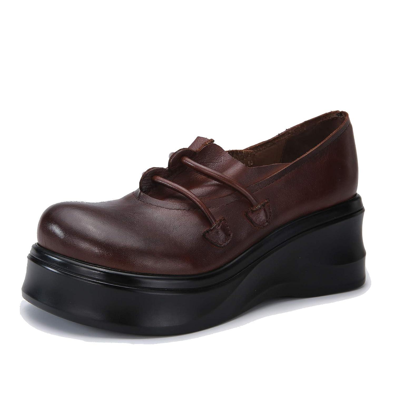 Botines para Mujer con Meseta de Moda Vintage Mocasines con Tacones Gruesos y cuñas Zapatos Altos Ocasionales en Cuero de otoño e Invierno: Amazon.es: ...