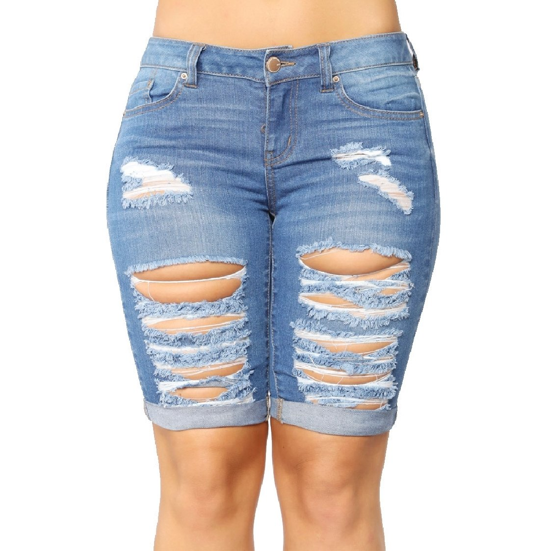 Middle Waist Denim Holes Shorts Coolred-Women Fashion Slim Fit Pocket