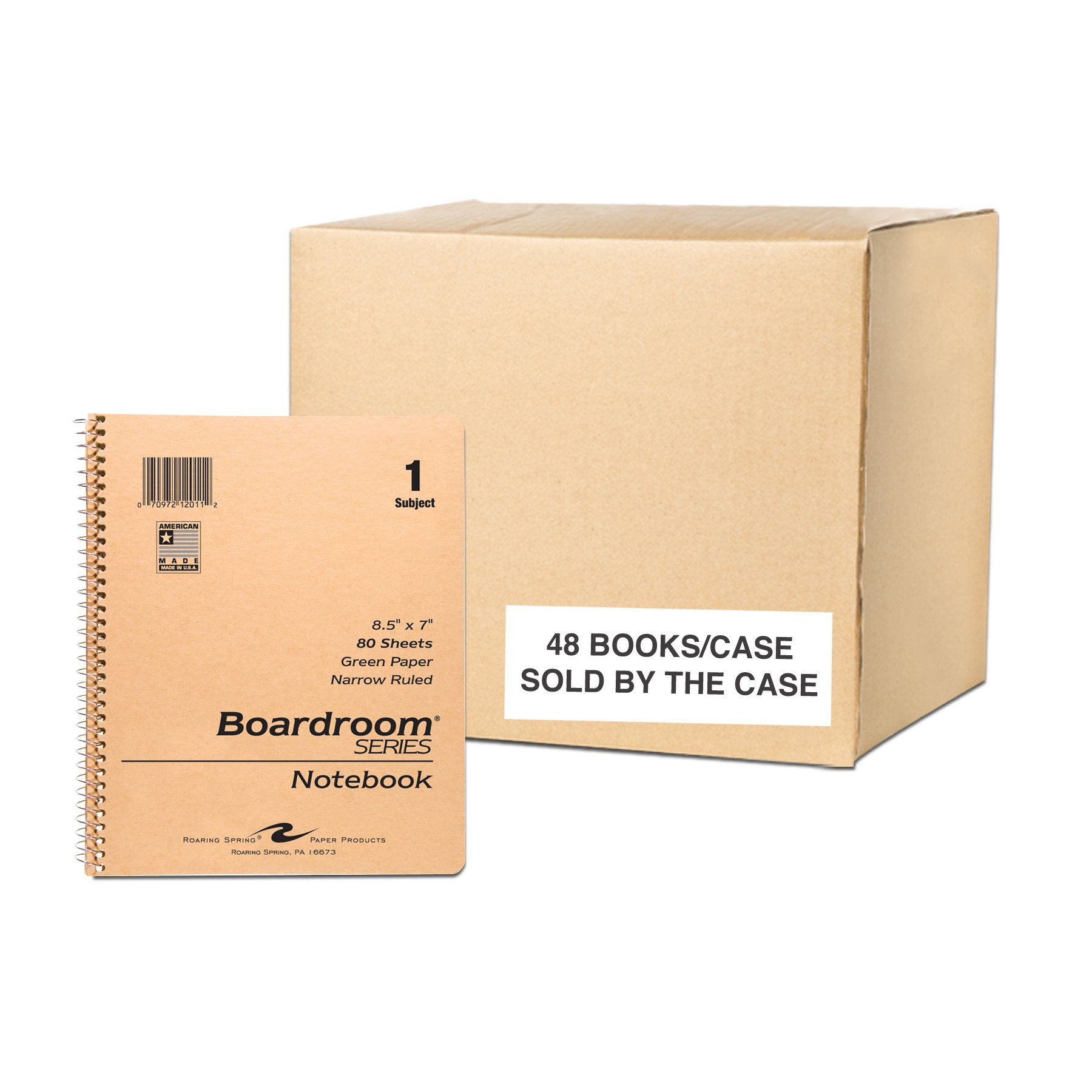 Case of 48 One Subject Wirebound Notebooks, 8.5''x7'', 80 sheets 15# Green Paper, Brown Kraft Covers, Narrow Ruled