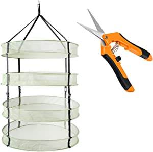 """iPower 2ft 4 Layers Clip on Hanging Collapsible Mesh Hydroponics Herb Drying Rack Net with 6.5"""" Stainless Steel Straight Blades Garden Hand Pruning Shears, Orange Pruner"""