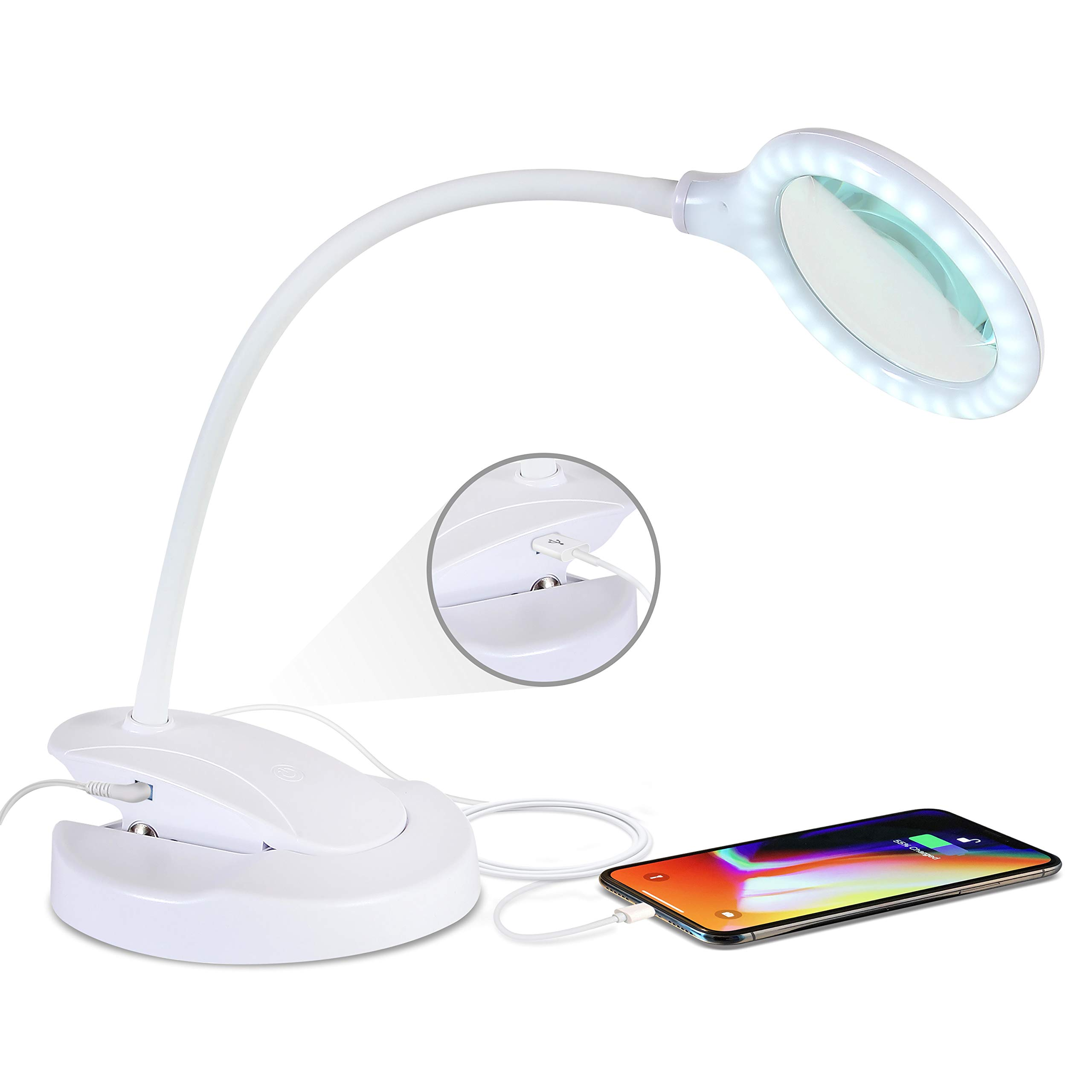 Brightech - Lightview LED Magnifying Lamp with USB Charging Port - Lightview Pro 2-in-1 Lighted Glass Magnifier with Stand, Clamp - Dimmable, Bright Light for Reading, Crafts - 1.75x - White by Brightech