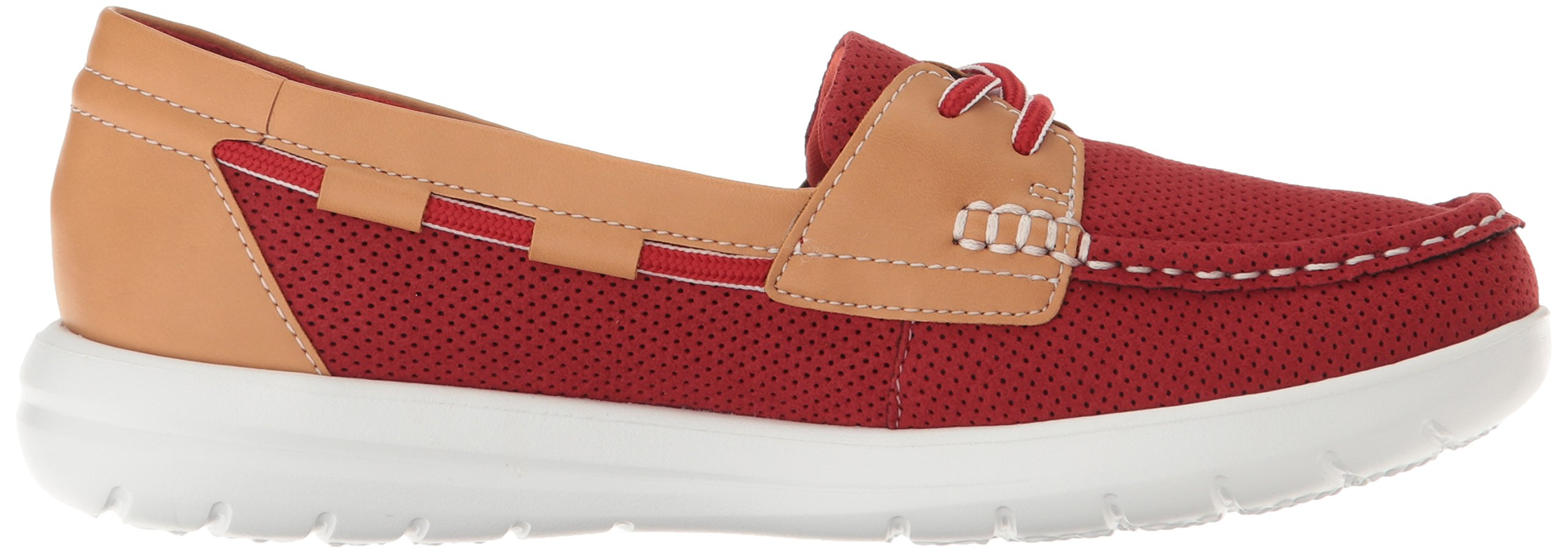 CLARKS Women's Jocolin Vista Boat Shoe, Red Perforated Microfiber, 12 B(M) US by CLARKS (Image #6)