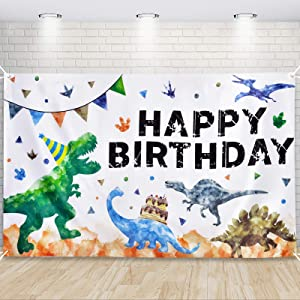 Watercolor Dinosaur Backdrop - Dinosaur Birthday Party Decorations for Boys 73'' x 43'' Outdoor Photography Background Party Supplies Large Wall Banner Room Decor