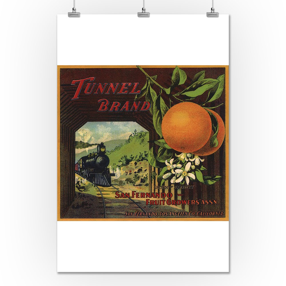 Amazon.com: Tunnel Brand - San Fernando, California - Citrus Crate Label (12x18 Art Print, Wall Decor Travel Poster): Arts, Crafts & Sewing