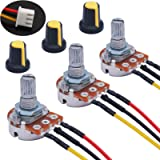 TWTADE 3PCS 1K Ohm Linear Taper Rotary Potentiometer WH148 B1K 3 Pin with XH2.54-3P Connector Wire Cable + Yellow Knob…