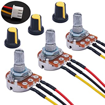 5x Potentiometers Pots Resistor Linear 3-Pin Taper Rotary With Knob Cap 20K Ohms