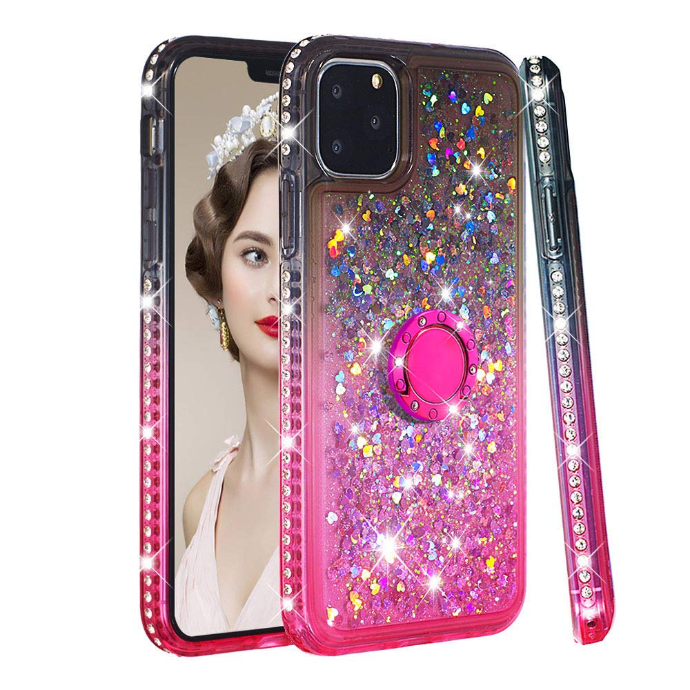 Tznzxm iPhone 11 Pro 2019 5.8'' Case, iPhone XI Case, Glitter TPU Gradient Quicksand Shockproof Bling Diamond Sparkly Defender 360 Finger Kickstand Ring Protective Case for iPhone 11 Pro Grey/Pink by Tznzxm