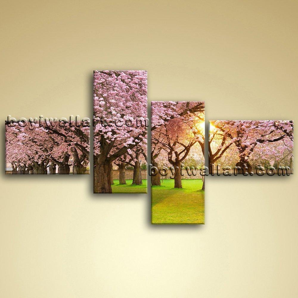 Amazon.com: Sunrise Forest Tree Landscape Painting HD Print On ...