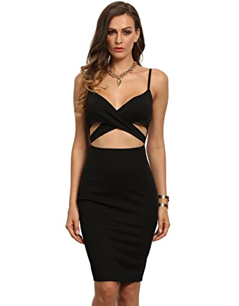 53bfbbb00df624 Floerns Women s Sexy Spaghetti Strap Cut Out Bodycon Pencil Dress Black XS