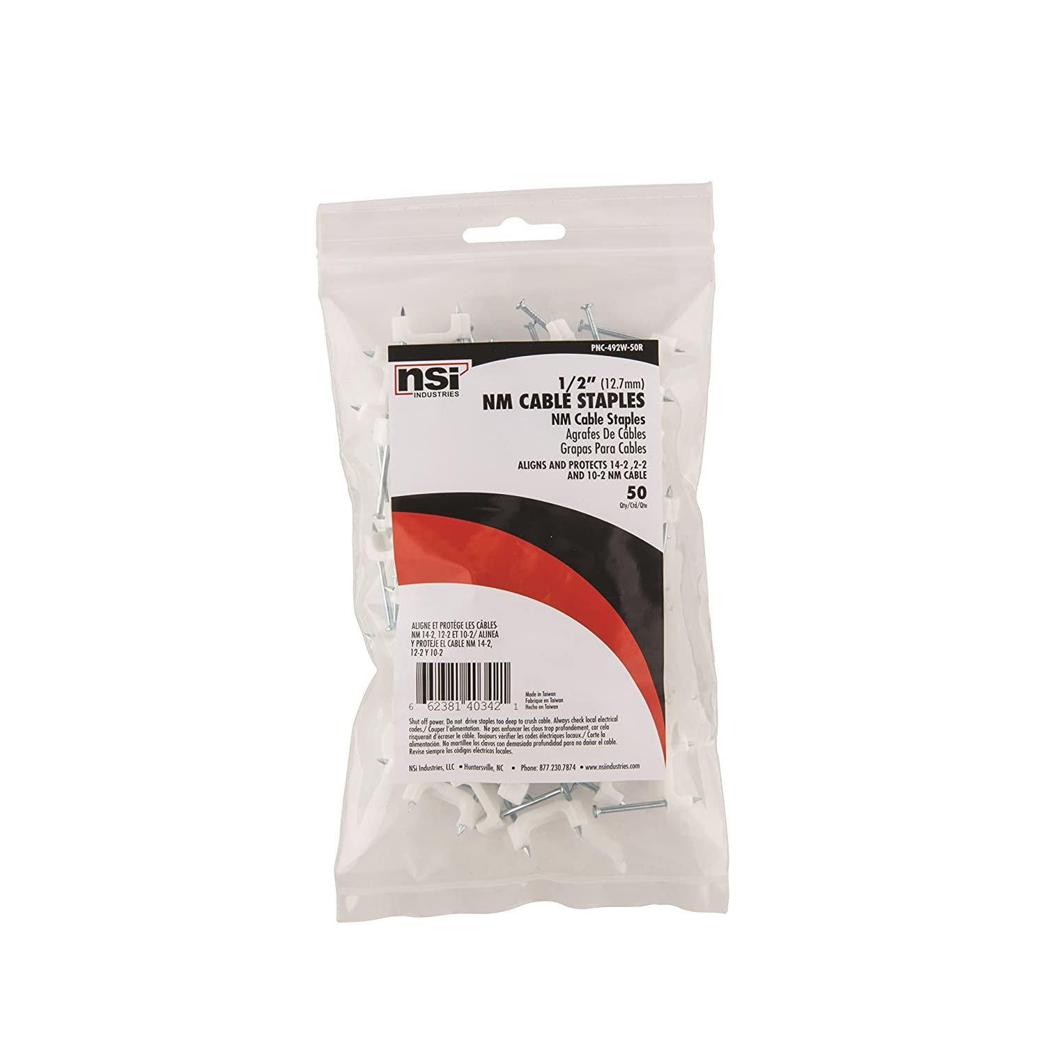 Nsi Industries Pnc 492w Nail On Plastic Staple For Romex Wiring Money Cable 0492 Width 0315 Height White Pack Of 100 Industrial Scientific