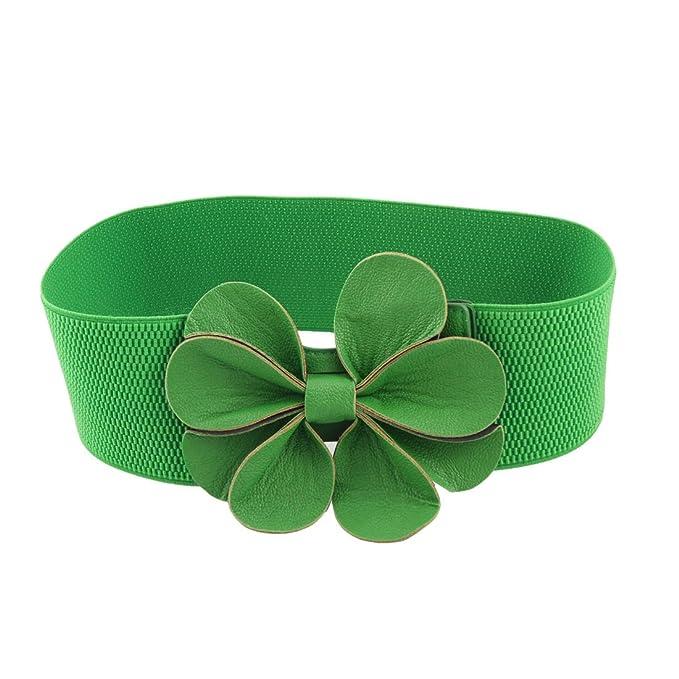 Vintage Retro Belts Green Faux Leather Flower 7.5cm Wide Elastic Cinch Belt for Woman $9.20 AT vintagedancer.com
