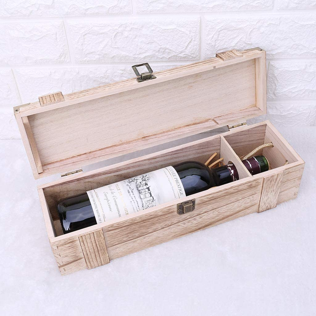Huwaioury - Caja de vino tinto vacía de madera de paulownia, caja de embalaje para whisky de uva: Amazon.es: Hogar