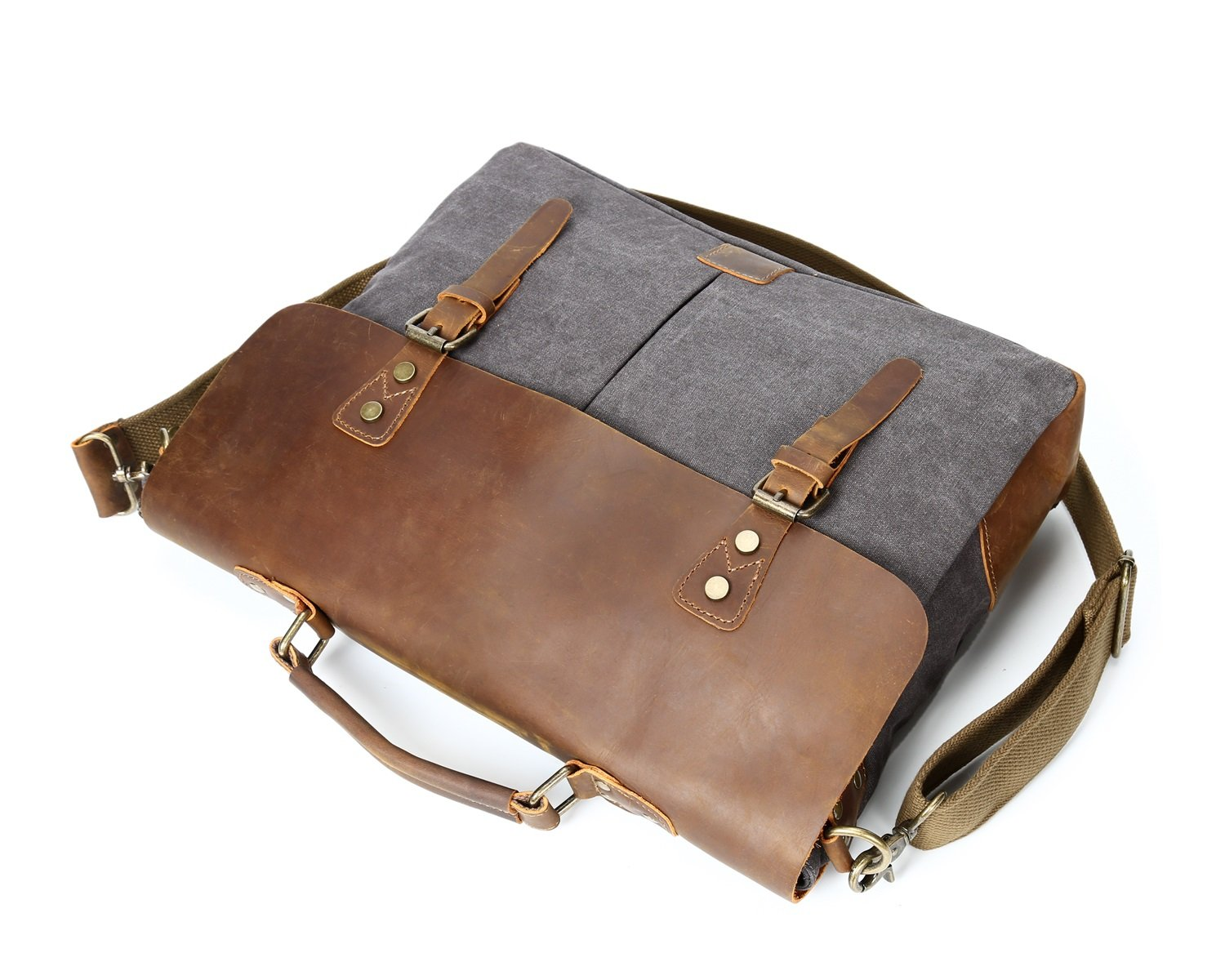 DAYIYANG Special Design Mens Shoulder Bag Retro Crazy Horseskin Bag Crossbody Canvas Bag Laptop Bag Color : Gray, Size : M
