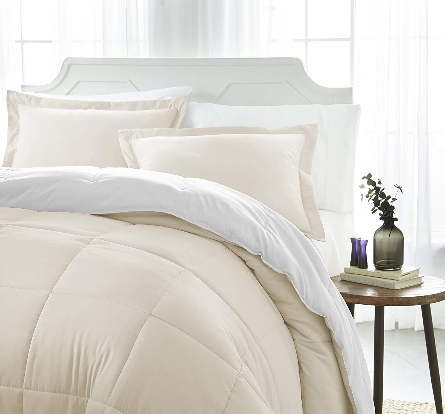 ienjoy Home Collection Down Alternative Reversible Comforter Set - Twin - White