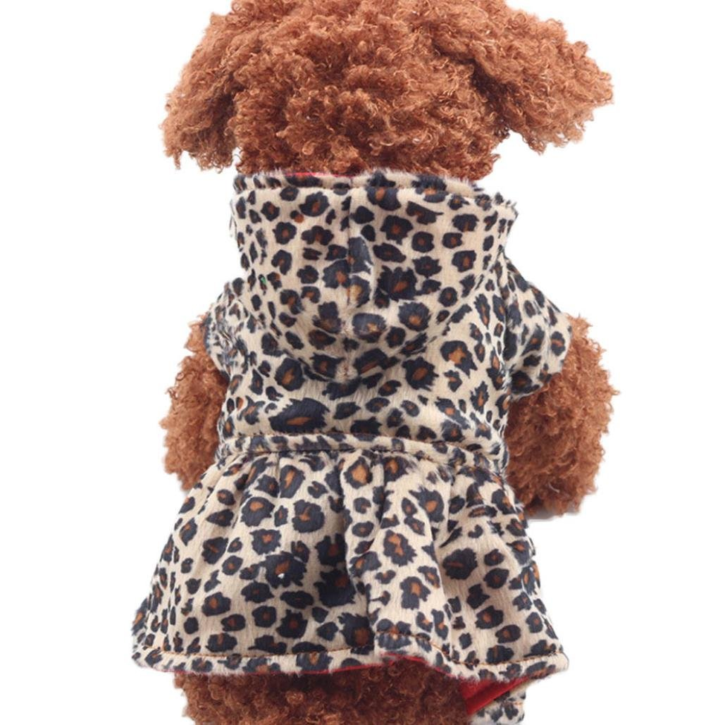 OOEOO Pet Dress, Dog Cat Jacket Outfit Leopard Apparel Puppy Hoodie Doggy Coat Clothes (Brown, XS)