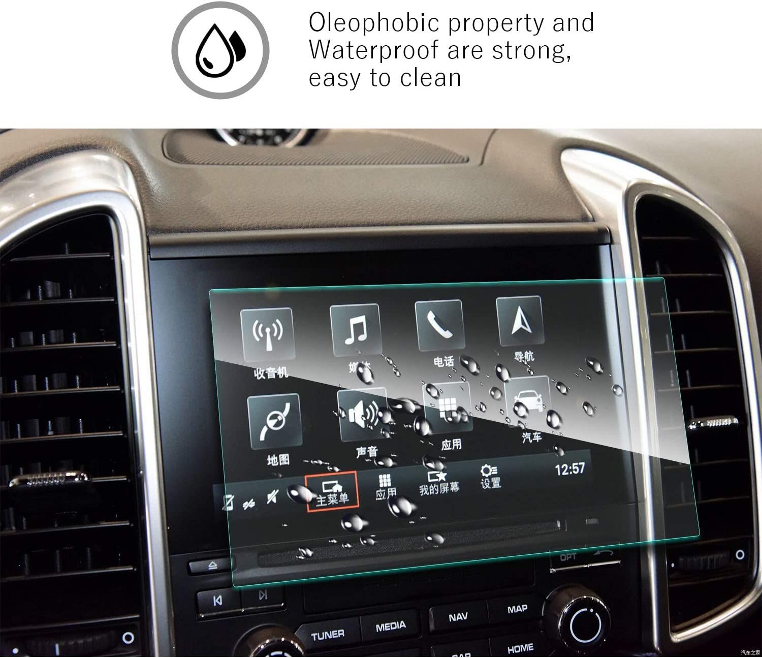 Car Navigation Display Glass Protective Film Anti-Scratch High Clarity 7-Inch YEE PIN Screen Protector for Porsche Cayenne//Porsche Macan 2015 2016 Center Control Touch Screen