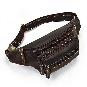 Negro de Cuero Genuino Cintura Bolso Mensajero Fanny Pack Riñonera calidad hecha artículo