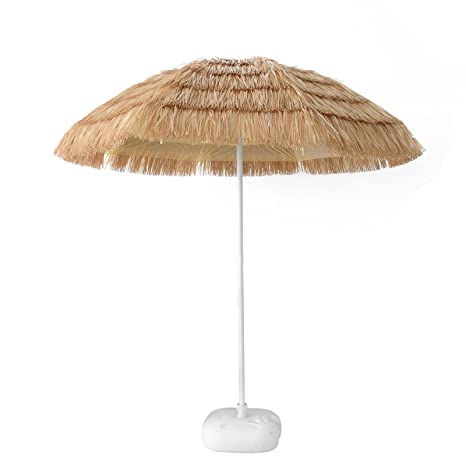 Caymus 7ft Hula Thatched Tiki Umbrella Hawaiian Style Beach Patio Umbrella  Natural Color 8 Ribs