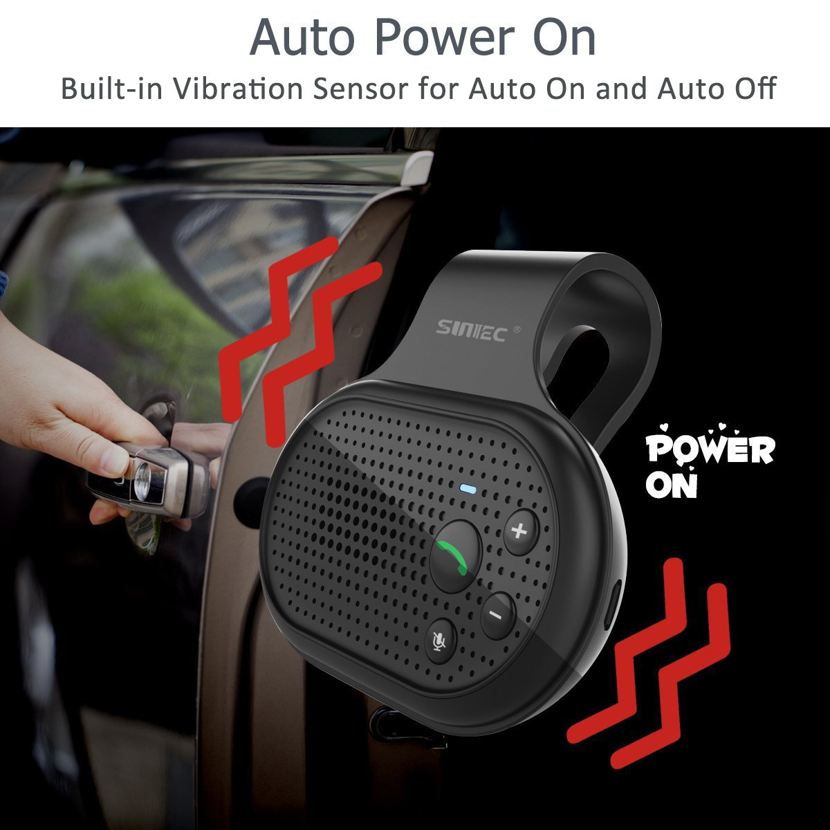 Bluetooth Hands Free Car Speakerphone, SUNITEC Bluetooth Visor Car Kit In-Car Phone Speaker AUTO POWER ON Support GPS, Music and HandsFree Calling for iphone, Samsung and Smartphones [2 Year Warranty] by Sunitec (Image #3)