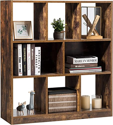 Tangkula Industrial Wooden Bookcase