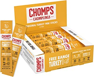 product image for CHOMPS MINI Free Range Turkey Jerky Meat Snack Sticks, Keto, Paleo, Whole30 Approved, Low Carb, High Protein, Gluten Free, Sugar Free, Nitrate Free, 30 Calories 0.5 Oz Sticks, Original Turkey 24 Pack