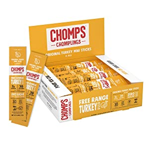 CHOMPS MINI Free Range Turkey Jerky Meat Snack Sticks, Keto, Paleo, Whole30 Approved, Low Carb, High Protein, Gluten Free, Sugar Free, Nitrate Free, 30 Calories 0.5 Oz Sticks, Original Turkey 24 Pack