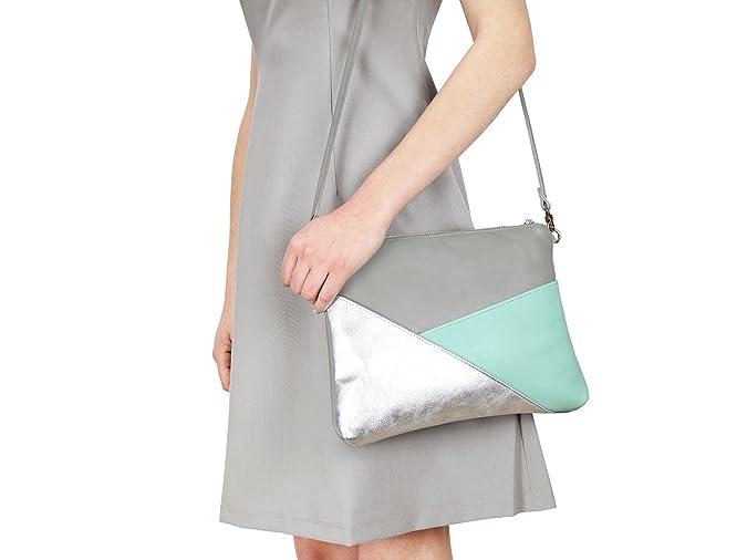 Damen Geo-Umhängeclutch Gesinchen - Grau/Mint/Silber aus Leder Lille Mus ClON3s