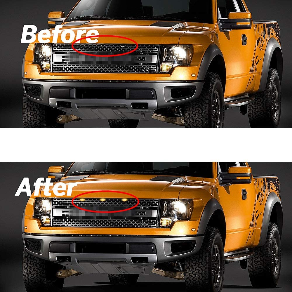 HUSUKU Front Grill Lights Fit for 2004-2019 2015 2016 2017 Ford F150 F250 F350 Raptor Grille LED White Lights 3 Pack Black Lens