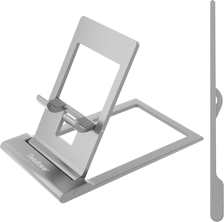 Reodoeer 超薄型 スマホスタンド カードサイズ 折り畳み式 アルミ製 タブレットスタンド 携帯スタンド 角度自由調整可能 (シルバー)