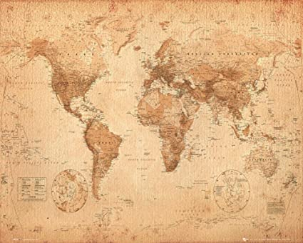 Amazon world map antique style art print poster 20x16 vintage world map antique style art print poster 20x16 gumiabroncs