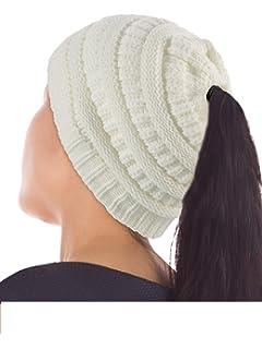 c73d33fa03b 2 Pièces Bonnet Femme avec Trou de Queue de Cheval Étendue Bonnet Haut  Côtelé Bonnet en