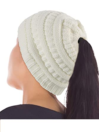 e29bd9c74a1 2 Pièces Bonnet Femme avec Trou de Queue de Cheval Étendue Bonnet Haut  Côtelé Bonnet en