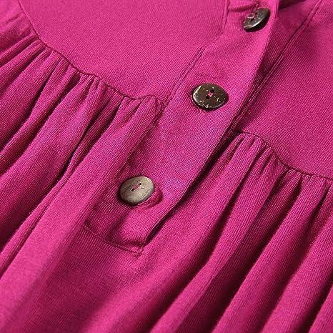 OUICE Frühling und Sommer Damskamode langärmeliges Kleid Neue Rundhals einfarbig knielangen Kleid beiläufige lose Version geeignet für den täglichen Strand Freizeit Unterhaltung Partykleid: Odzież