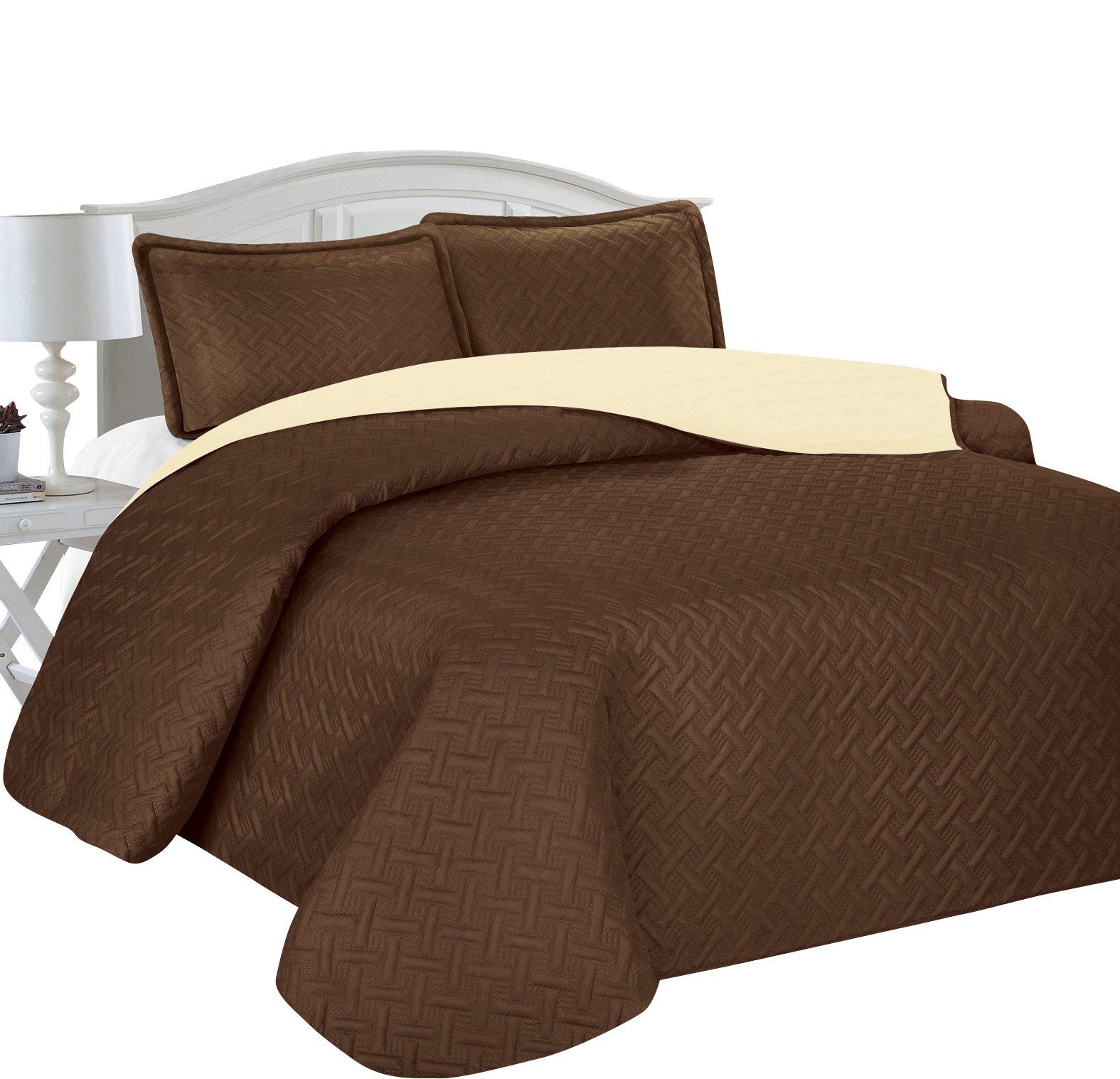 Home Sweet Home Victoria Design Reversible 3 PC Quilt Bedspread Sets (King, Brown/Beige)