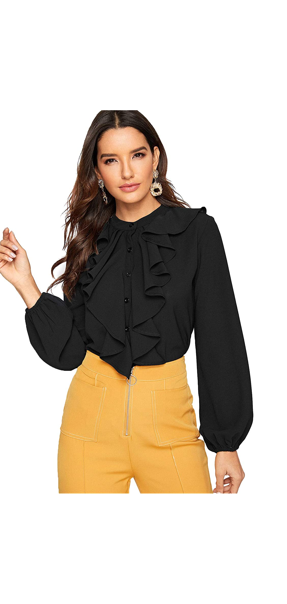 Women's Long Sleeve Button Down Lotus Ruffled Work Shirt