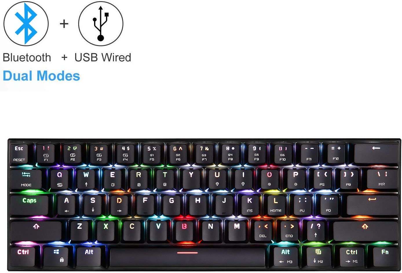 60% Bluetooth Mechanical Gaming Keyboard, RGB Backlit Bluetooth Wired/Wireless LED Computer MAC Keyboard Blue Switches 100% Anti-Ghosting Keyboard for Multi-Device Phone Android Mobile PC Laptop