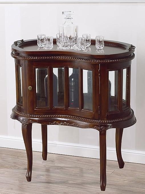 Bar Tisch Kolonial Rund Vitrine Flaschenregal Englisch Stil Teetisch