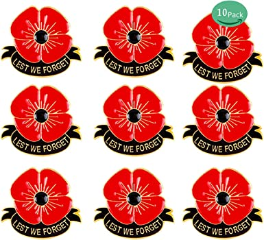 Amazon Com Rhungift 10 Pack Metal Poppy Flower Pins Brooch Lest