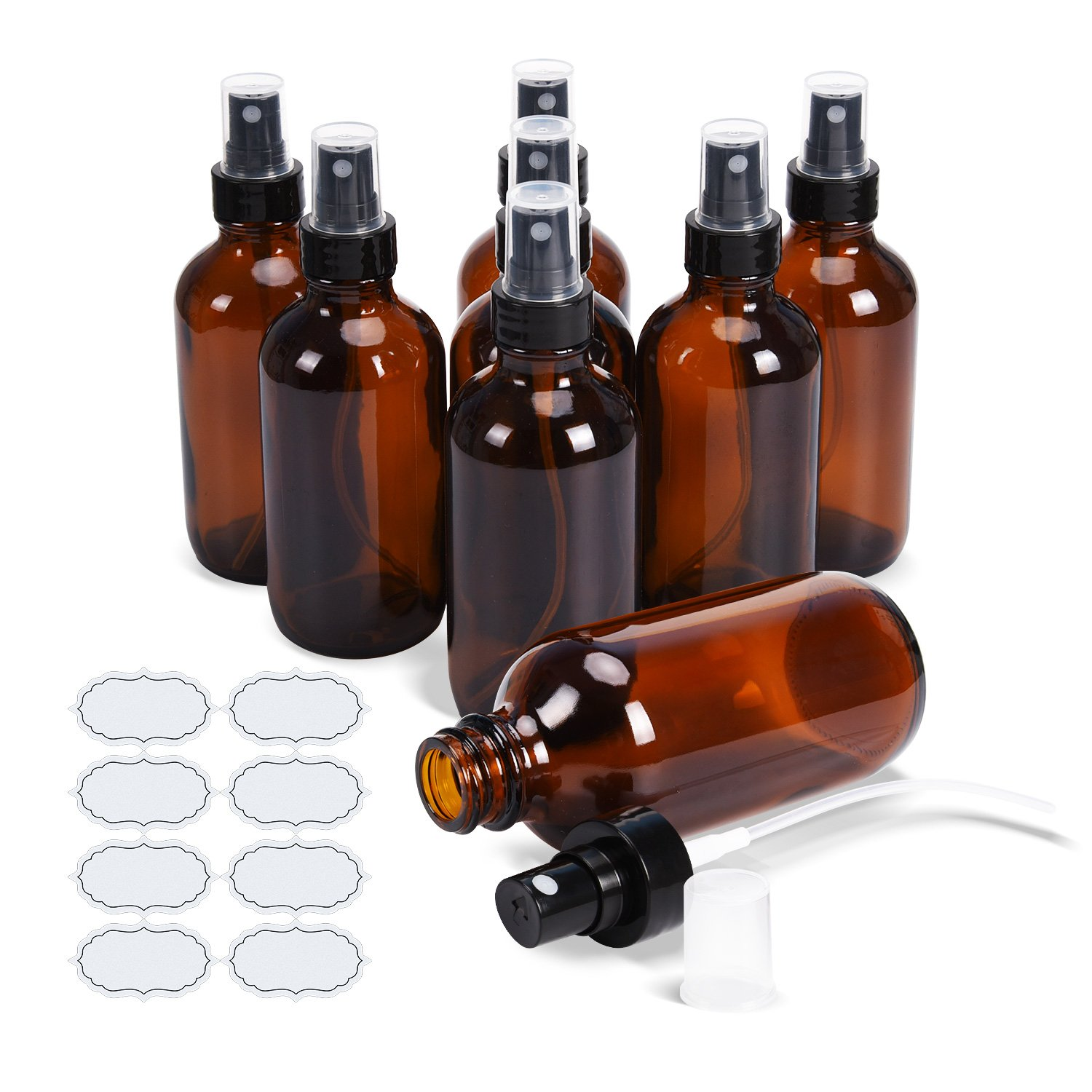Fine Mist Sprayers 8 Pack 4 oz Amber Glass Bottles ULG Empty Spray Atomizer for Essential Oils Aromatherapy Cosmetic Sprays Including 8 Piece Waterproof DIY Labels