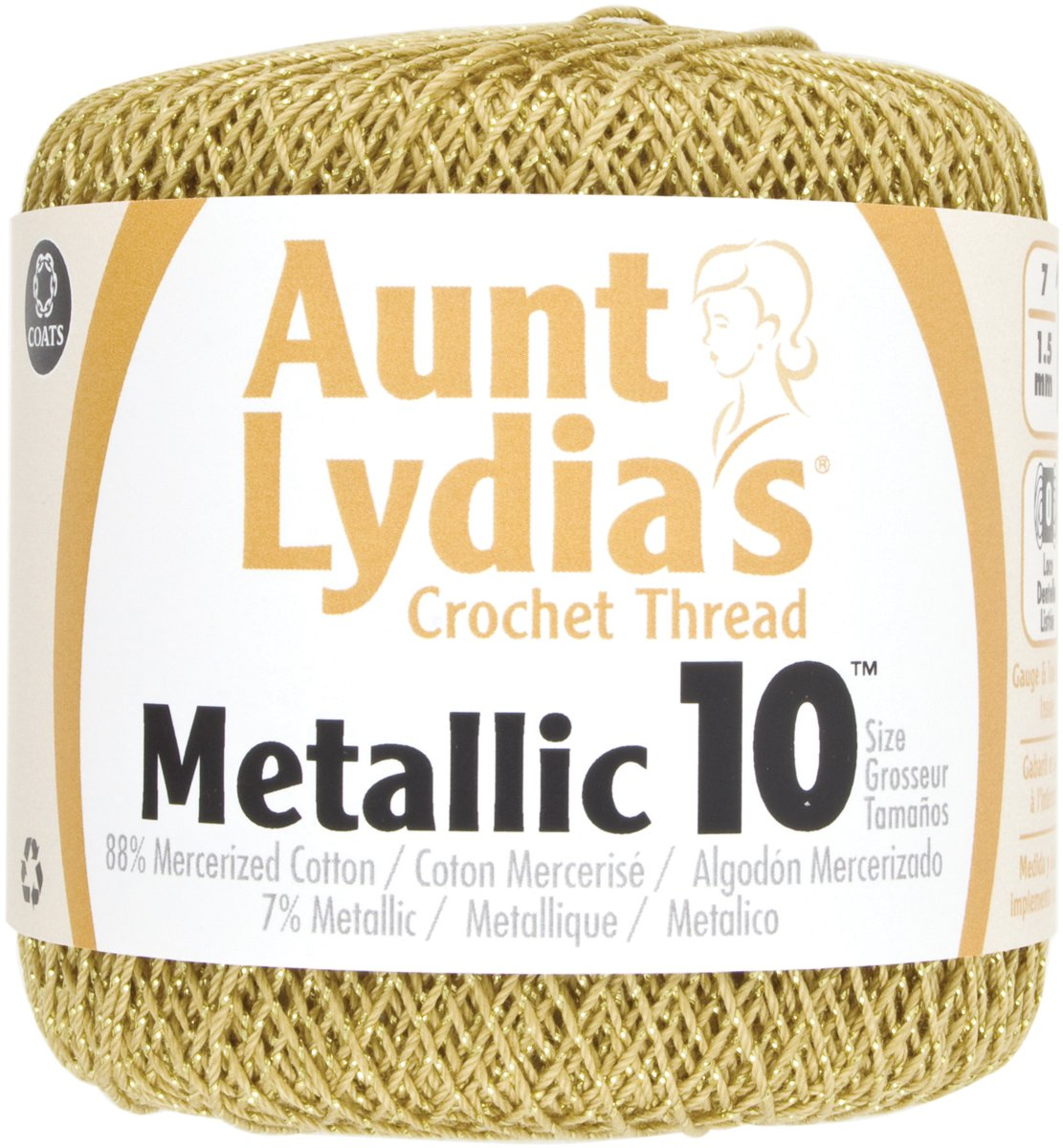 Brand New Aunt Lydia's Metallic Crochet Thread Size 10-Gold & Gold Brand New