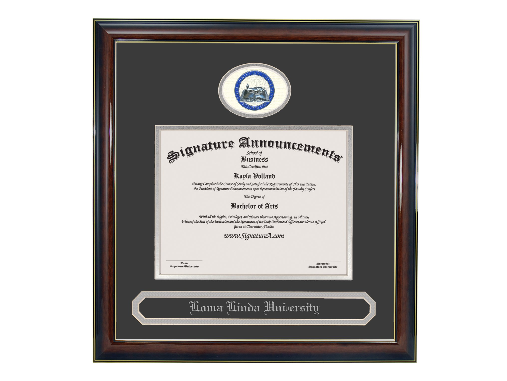 Signature Announcements Ohio-Christian-University Undergraduate, Graduate/Professional/Doctor Sculpted Foil Seal & Name Diploma Frame, 16'' x 16'', Gold Accent Gloss Mahogany