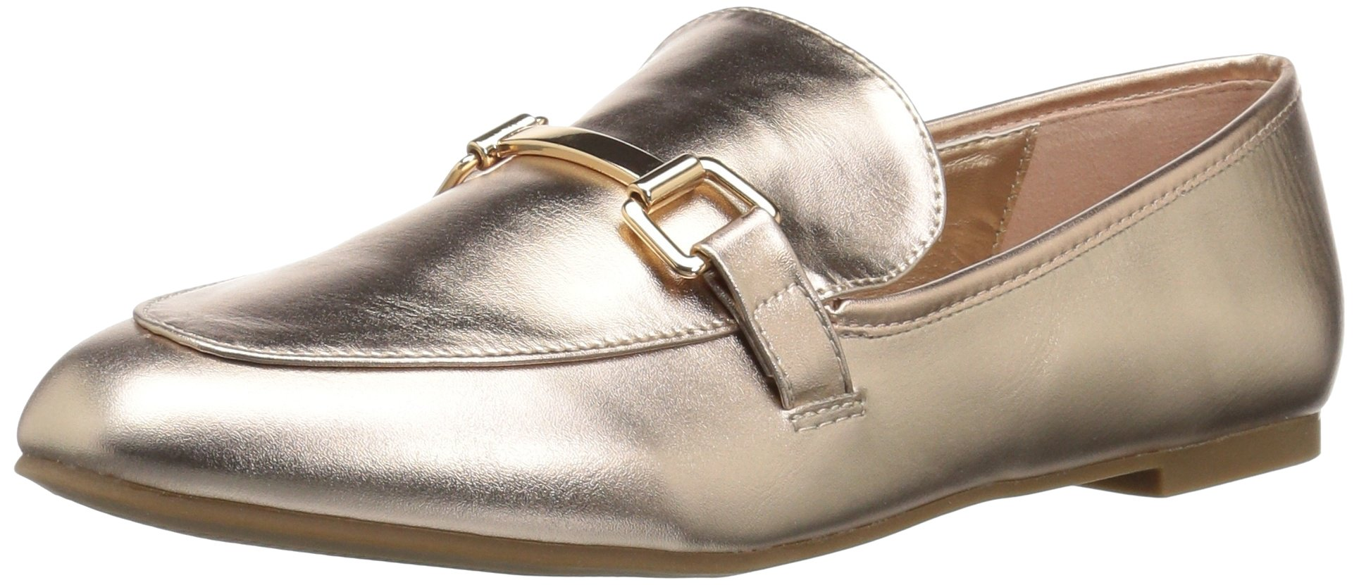 Rampage Women's Delila Comfortable Flat Fashion Great for Work Loafer, Rose Gold Smooth, 6 Medium US