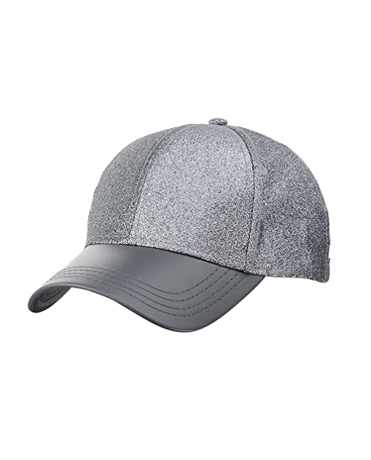 C.C Unisex Adjustable Glitter Celebrity Style Precurved Bill PU Baseball Cap  Hat 9d9de0567caa