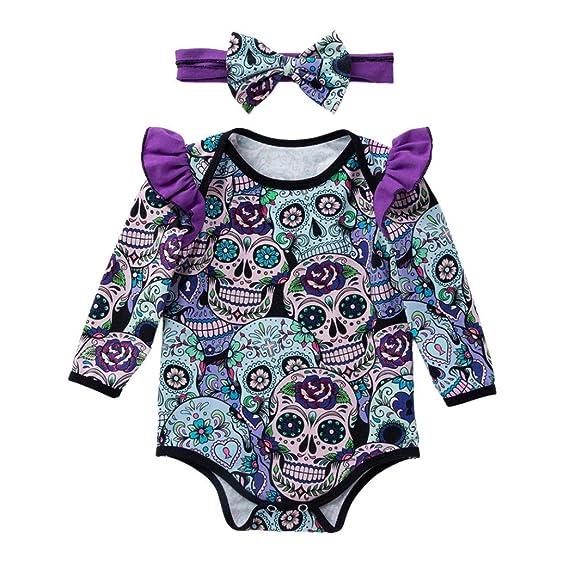 Ropa Bebe,❤️ Modaworld Monos de Calavera de Dibujos Animados de Halloween de Manga Larga para bebés recién Nacidos Mameluco Camisas Ropa bebés 0-18 ...
