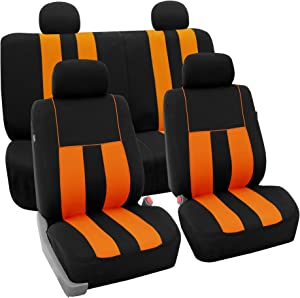 FH Group FB036114 Striking Striped Seat Covers (Orange) Full Set – Universal Fit for Cars Trucks & SUVs