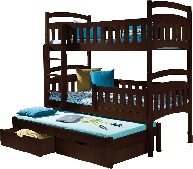 Litera Triple DOMI 3 Moderna Cama Nido Alta con cajones y Escalera de Madera de Pino para 3 niños, Izquierdo, UK Single Standard Size: Amazon.es: Hogar