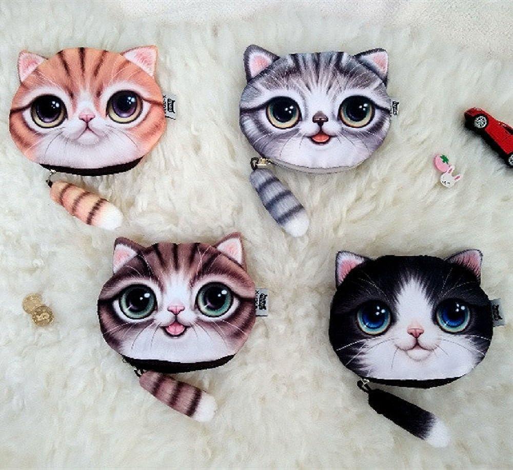 Cat Head Wallet, ABCmall Cute 3D Cat Face Tail Zipper Closure Bag Coin Purse Case