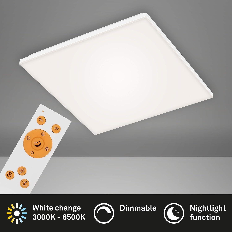 LED Deckenlampe dimmbar Fernbedienung LED Panel Briloner Leuchten 24 Watt rahmenlos 450x450x75mm Wei/ß LxBxH inkl Farbtemperatursteuerung 2.800 Lumen