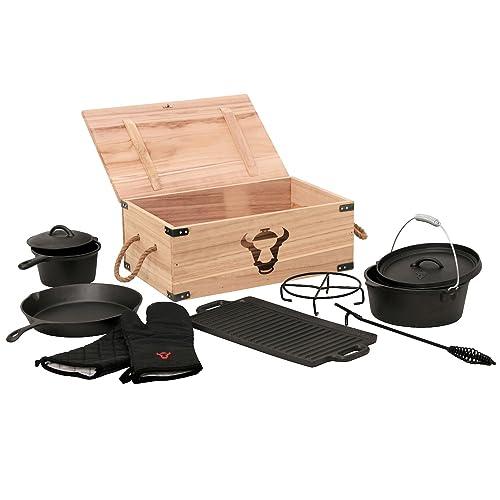 BBQ-Toro 8-teiliges Dutch Oven Set in Holzkiste Gusseisen eingebrannt Töpfe Pfanne Handschuhe und mehr