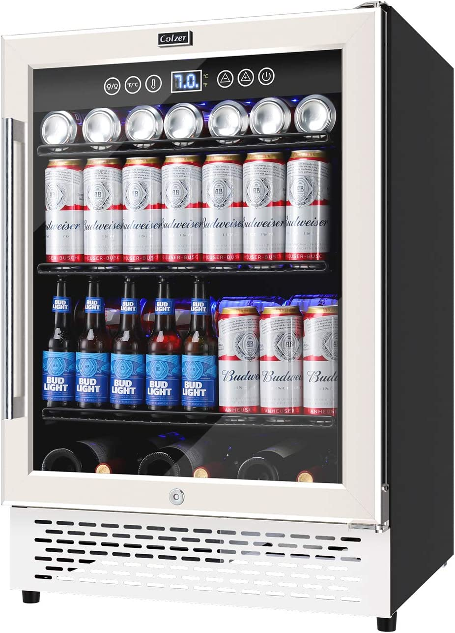 24 Inch Beverage Refrigerator Cooler Mini Fridge, COLZER Wine Cooler 175 Cans Built-in and Freestanding Cooler with LED Light, Advanced Cooling System, Adjustable Shelves, Memory Temperature Control for Home Bar Office